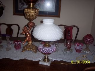 Just Stunning Cranberry Hobnail Fenton Lamp With Fenton White Hobnail Shade photo