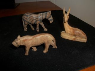 3 Vintage Hand Carved Wooden Safari Animals photo