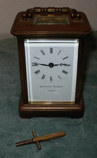 Antique Matthew Norman Carriage Clock London Brass Running W/ Key photo