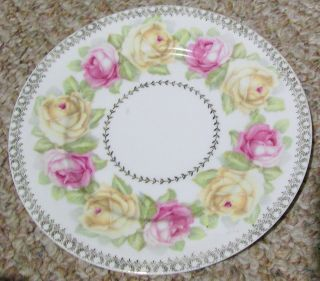 Antique Vintage Pink Yellow Roses Porcelain Decorative Plate Z S Co Bavaria Old photo