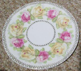Antique Vintage Pink Yellow Roses Porcelain Decorative Plate Z S Co Bavaria Old photo