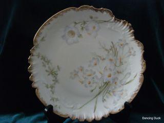 Bawo Dotter Elite Limoges Plate White Floral Motif Latrille Freres Mfr 1899 - 1913 photo
