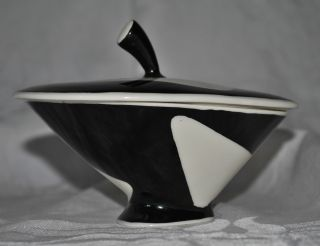 Antique Art Deco Lindner Kueps Bavaria 526 Black White Sugar Bowl Trinket Box photo