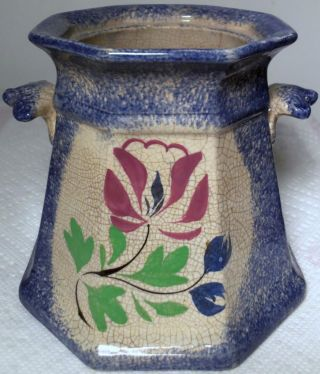 Antique 1830s - 1840s Blue Spatterware Pottery Sugar Bowl W/ Purple Flower,  No Lid photo