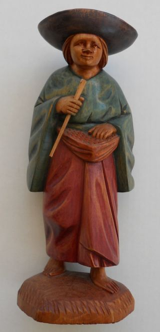 Hand Carved & Painted Wood Figure,  Wooden Statue 12