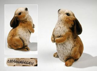Oberammergau Holzschnitzerein Resin Art Carving Bunny Rabbit Figurine Detailed photo