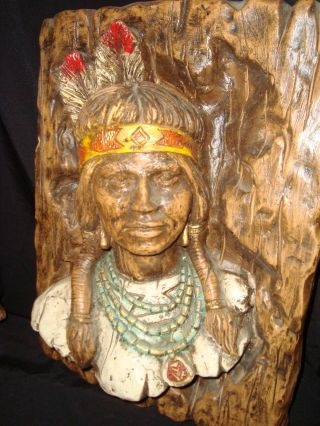 Rare Faux Wood Hand Carved Native Art Sculpture Raised 3d Effect photo