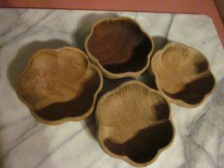 4 Vintage Wooden Salad Bowls 6 Sided Scalloped Edges photo