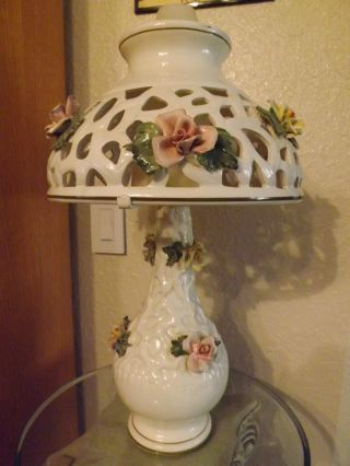 Capodimonte Signed Lamp photo