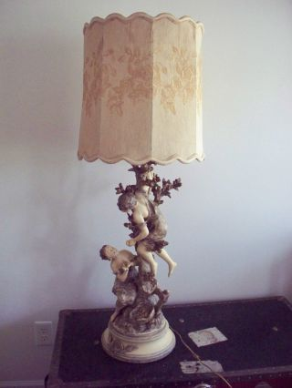 Art Nouveau Signed Moreau Metal Figural Lamp Made In France Bronze photo