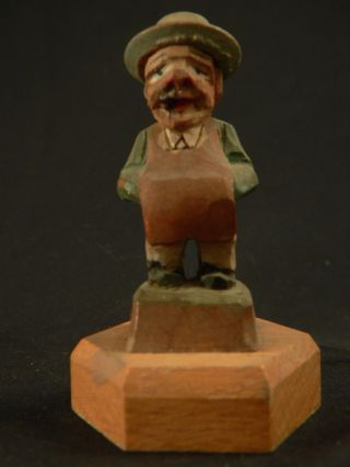 Vintage Folk Art Hand Painted Carved Shop Owner Statue photo