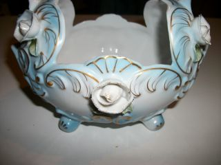 Antique Porcelain Footed Bowl Handpainted Gold Details Rose Accents Vintage photo