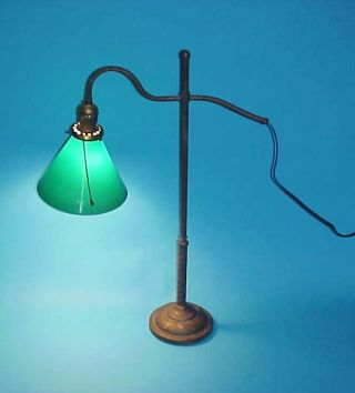 Fine 1920 ' S Adjustable Brass Emeralite Student ' S Gooseneck Lamp In Working Order photo