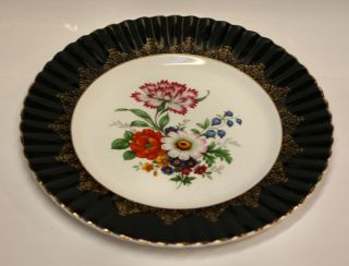 Dresden Florals Porcelain Display Plate W Fluted Black W 24kt Filigree Rim photo
