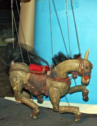 Antique Hand Carved Wooden Jointed Horse Marionette/puppet 1930s Or Earlier photo