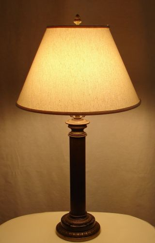 Vintage Paul Hanson Brass Fluted Column Marble Quality Classical Desk Table Lamp photo