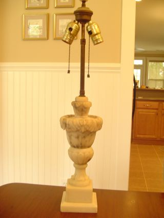 Antique Italian Carved Alabaster Parlor Table Lamp Vintage Marble Urn Design photo