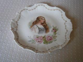 Antique Empire China Victorian Girl Portrait Cabinet Plate Embossed Gilt Edge photo