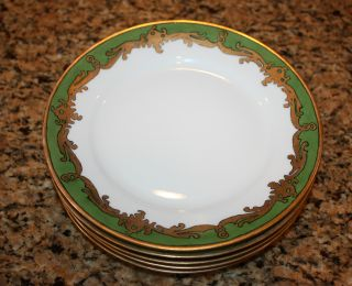 5 Antique Rare Bavaria Plate Green Trim Gold Scroll Art Deco Haviland 1898 - 1923 photo