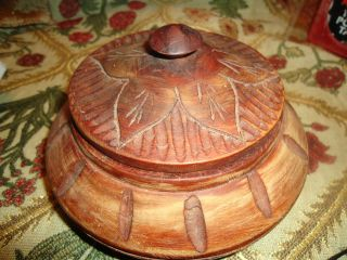 Old Wooden Carved Bowl With Lid 6