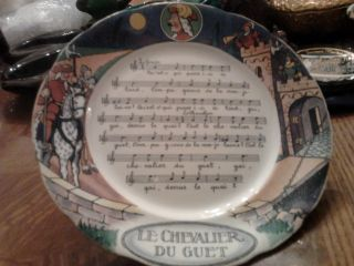 French Sarreguemines Pottery Sheet Music Song Plate Le Chevalier De Guet photo