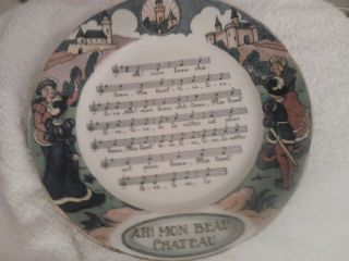 French Sarreguemines Pottery Sheet Music Song Plate