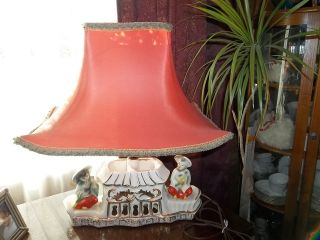 Exquisite Antique Asian Table Lamp Porcelain W/ Lamp Shade photo