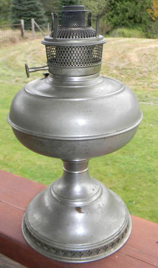 Antique Nickel Bradley & Hubbard Oil Lamp Base B&h 1890 ' S photo
