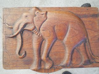 Indian Antique Carved Wooden Elephant photo