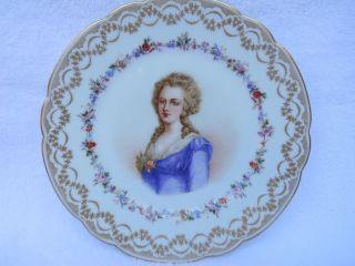 Antique Sevres Plate Porcelain Portrait Madame Elisabeth 1846 France photo