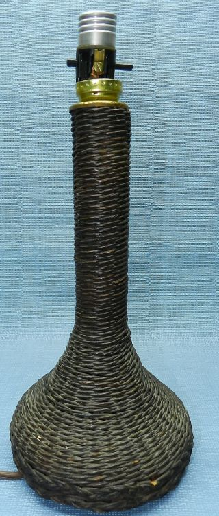 Antique Brown Wicker Table Lamp photo
