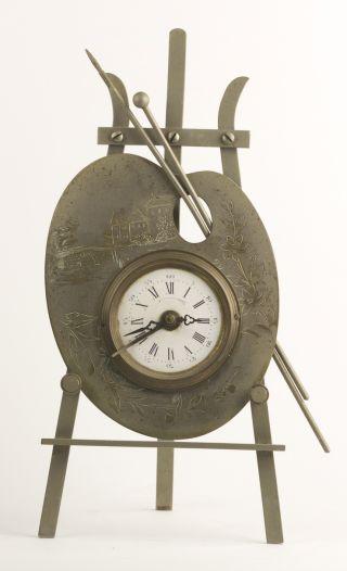 Antique Victorian Vintage Painter ' S Pallet Figural Clock Rare Decorative photo