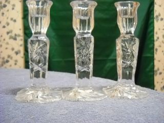 Three Vintage German Crystal.  Pin Wheel Design Candle Stick Holders ( photo
