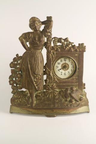 Antique Victorian Figural Clock – Lady At Garden Gate Rare Decorative photo