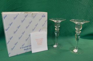 Princess House Heritage 636 Crystal Candlesticks Set Of 2 Box photo