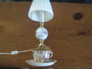 Royal Winton Ivory,  England Cup And Saucer Lamp By Wright Tyndale & Van Roden photo