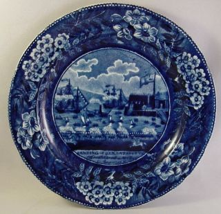 Historical Blue Clews Staffordshire Plate Lafayette ' S Landing,  Small 6 - 3/4