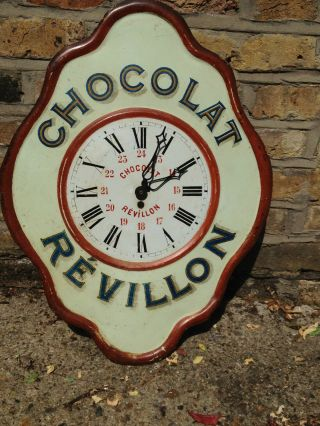 Antique French Chocolate Revillon Tole Tin Advertising Wall Clock C.  1920/30 photo