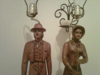 Vtg Carving Pair Black Forest Carved Wood Lamps Male/female Dairy Farmers Churn photo