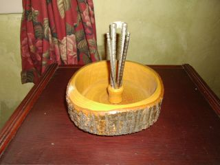 Vintage 1950 ' S Rustic Wood Log Tree Bark Carved Nut Bowl Metal Cracker & 4 Picks photo