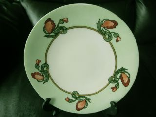 Hand Painted Antique Plate With Art Nouveau Poppies Keramic Studio Style photo