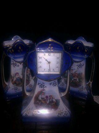 Flow Blue 3 Piece Mantel Clock - Vase Set Made In England No.  214 photo