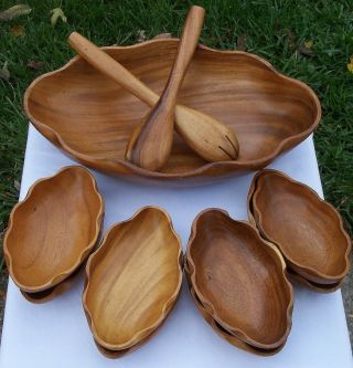 - Sized Vintage 11 Piece Service For 8 Wooden Salad Set - Hand - Carved photo