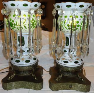 Pair Large Bohemian Vintage/antique Mantle Lusters Green/electrified (lustres) photo
