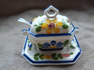 Vintage Sugar Bowl Set Possibly Oriental Origin Unknown photo