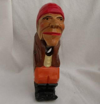 Wooden Carved Black Forest Nutcracker Vintage Logger Lumberjack Man Folk Art photo