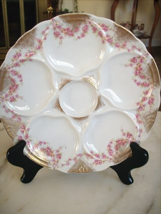 Antique Limoges Oyster Plate Pink Roses Gold Trim photo