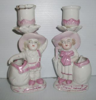 Pair Victorian Porcelain Candlesticks Children Dressed As Grandmama & Grandpapa photo