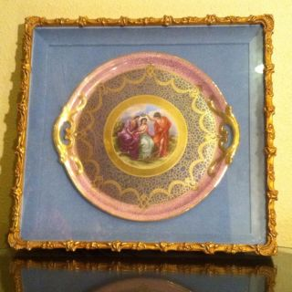 Exquisite Antique Framed Porcelain Charger,  French? photo