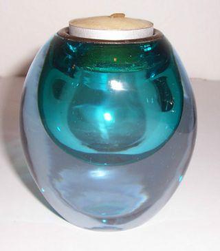 Antique Blue Turquoise Glass Tea Light Holder Brass Insert Tear Drop Unique photo